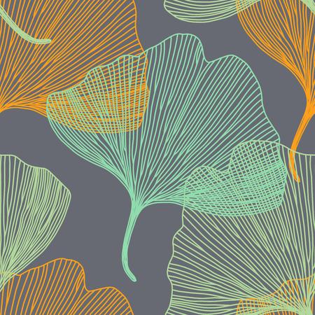 Ginkgo biloba leaf, seamless pattern, vector background