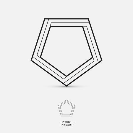 pentagon: Penrose pentagon, impossible shape, line design, vector