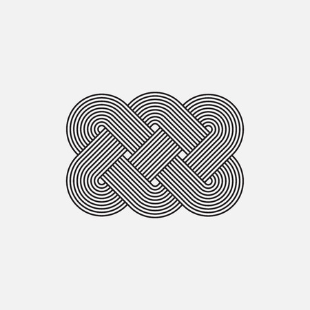 intertwined: Twisted lines, vector element, intertwined pattern, isolated object, line design Illustration
