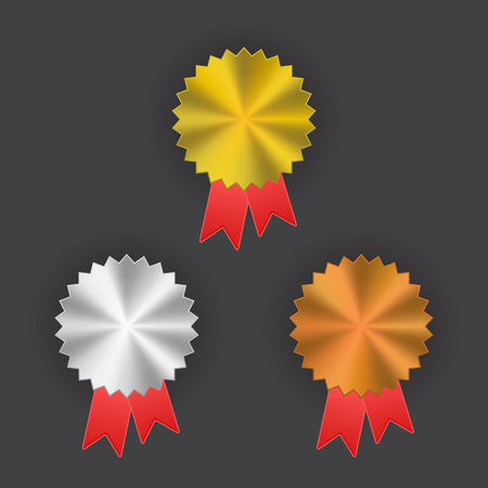 gold silver bronze: Badge with ribbons icon, vector illustration, gold, silver, bronze Illustration