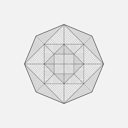 Geometric shape, star design, vector, line design