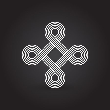intertwined: Twisted lines, vector element, intertwined pattern, line design