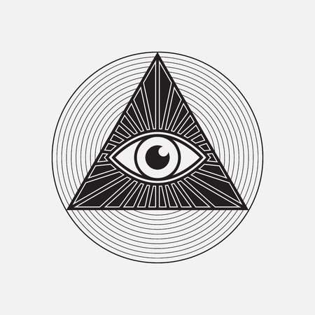 All seeing eye symbol, vector illustration Ilustração