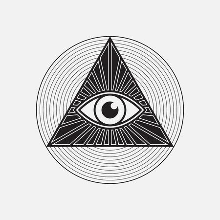 All seeing eye symbol, vector illustration Stock Illustratie