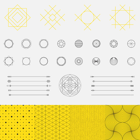white star line: Set of geometric shapes, triangle, circle, pattern, line design, vector