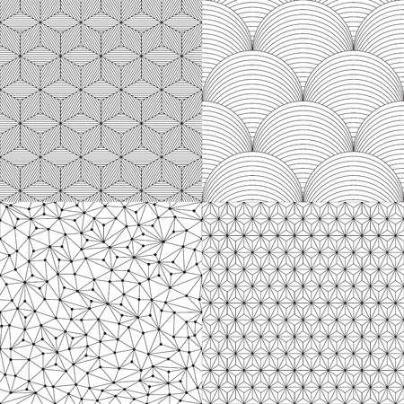 Set of geometric seamless patterns, vector illustration