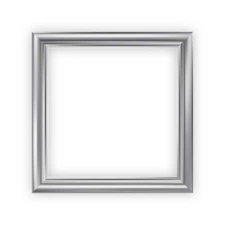 Silver blank picture frame, vector, square