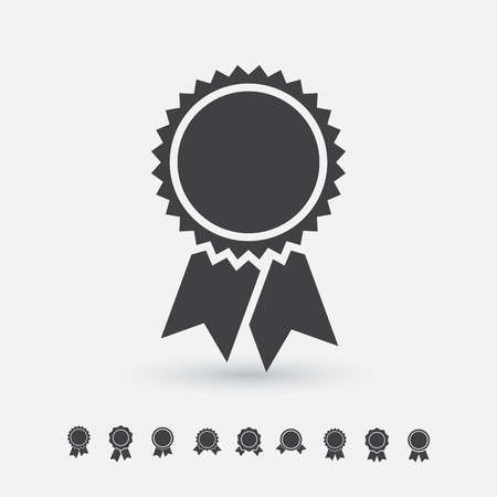 Badge with ribbons icon, vector set, simple flat design