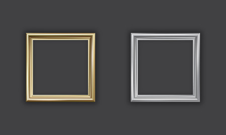 silver picture frame: Silver and gold picture frame, square, vector
