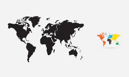 Wereldkaart, silhouet, vector
