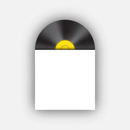 record cover: Vinyl record with cover, vector Illustration