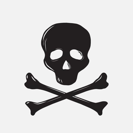 skull and bones: Skull with bones, silhouette, vector illustration, isolated Illustration