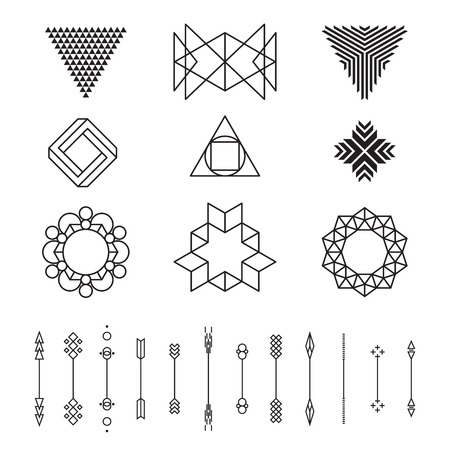 Set of geometric shapes, vector illustration, isolated, line design Çizim