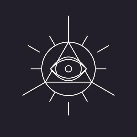Alle zien symbool, moderne lijn ontwerp, vector Stock Illustratie
