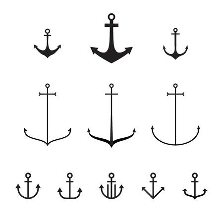 Set of anchors, vector illustration, modern simple design, line design