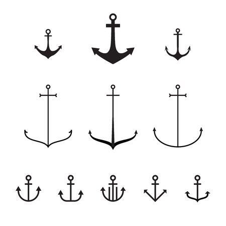 Set of anchors, vector illustration, modern simple design, line design