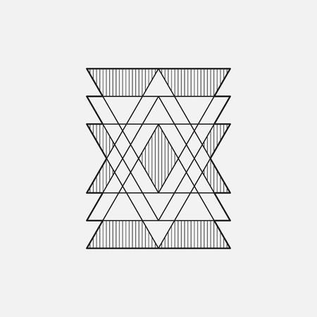 Modern geometric symbol, line design, vector, triangles