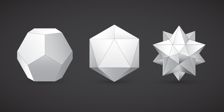 icosahedron: Geometric shapes, dodecahedron, vector Illustration