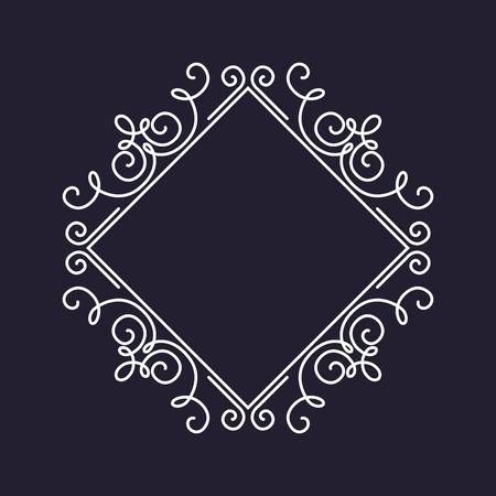 borde de flores: Plantilla del monograma del marco, ornamento floral, ilustración vectorial, cuadrado