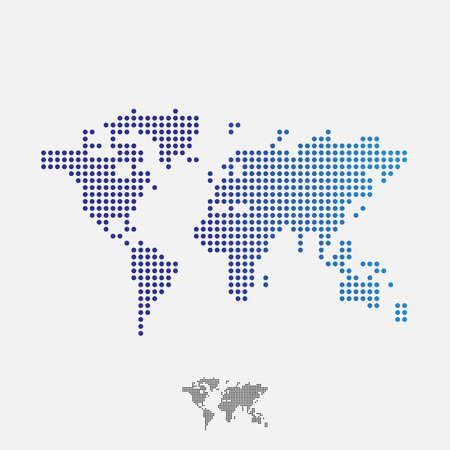 connected world: Abstract world map, dots, vector Illustration