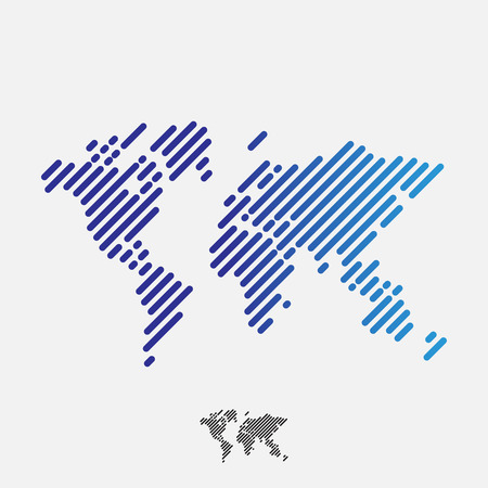Abstract world map, lines, vector