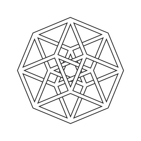 Hypercube, tesseract, geometric symbol, line design Illustration