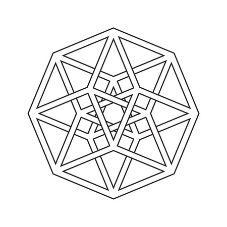 Hypercube, tesseract, geometric symbol, line design Illustration