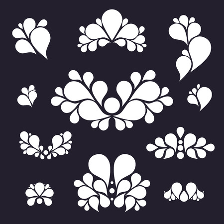 tear: Set of tear drop elements, swirl and floral design, silhouette, vector illustration Illustration