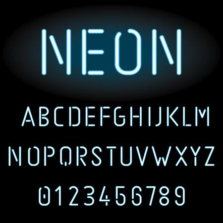 Blue neon light alphabet, vector illustration Illustration