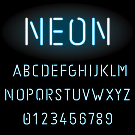 Blue neon light alphabet, vector illustration Vettoriali