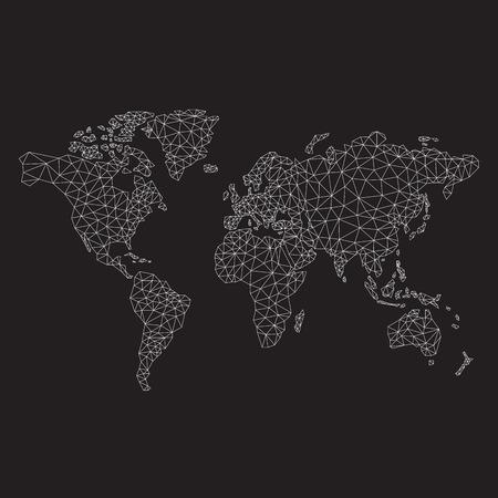 poligonos: Poligonal mapa del mundo, triángulos, línea diseño, ilustración vectorial Vectores