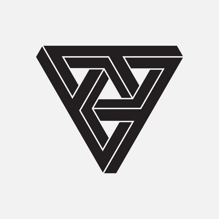 triangulo: Ilusión óptica, triángulos, elemento geométrico, ilustración vectorial Vectores