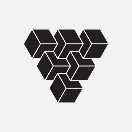 Optische illusie, kubussen, geometrisch element, vector illustratie