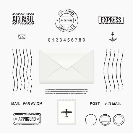 sello: Conjunto de símbolos de estampillas de correos, sobres de correo, ilustración vectorial