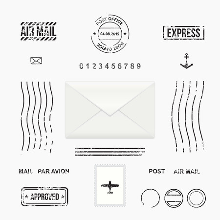 postcard background: Set of post stamp symbols, mail envelope, vector illustration