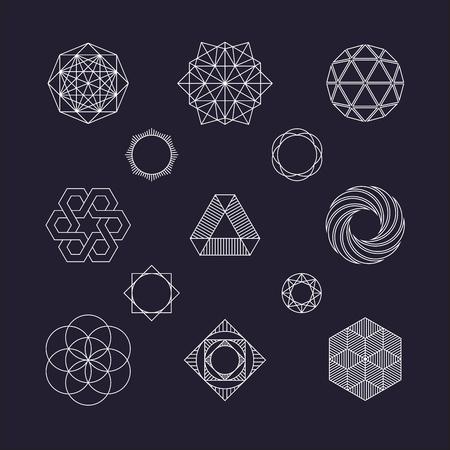round border: Set of vector geometric elements, line design Illustration