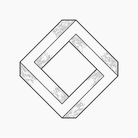 square shape: Impossible shape, square, line design Illustration