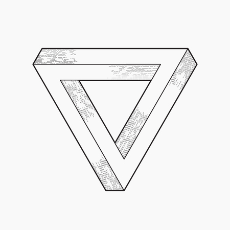 Impossible shape, triangle, line design Ilustracja