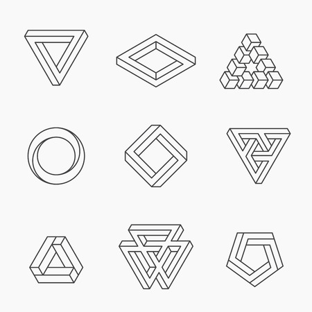 Set of impossible shapes, vector, line design