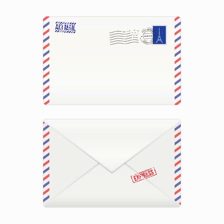 Sobre del correo aéreo con el sello postal, aislado, ilustración vectorial Foto de archivo - 44697028