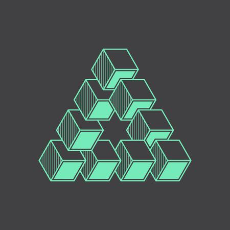 illusion: Geometric optical illusion, vector illustration, line design element, cubes