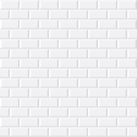 White tiles, ceramic brick, vector illustration, seamless pattern