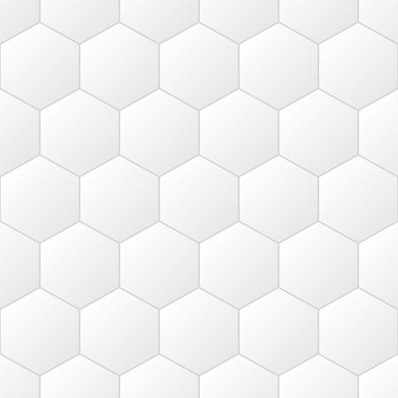 White tiles, hexagons, vector illustration, seamless pattern