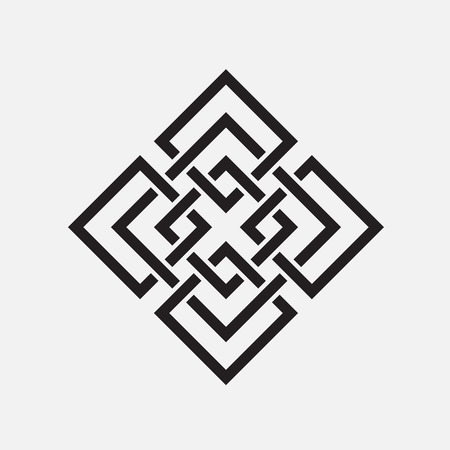 isolated object: Intertwined pattern, isolated object, squares, vector element