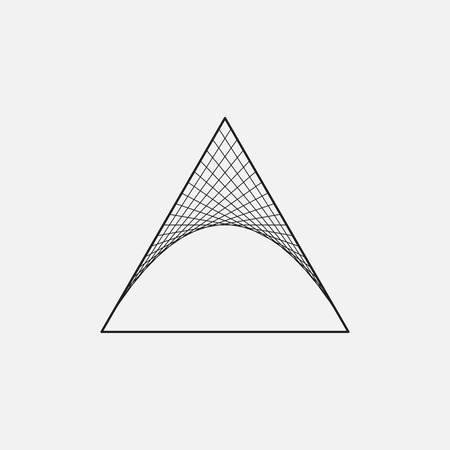 Triangle with hyperbolic paraboloid, sacred geometry Illustration