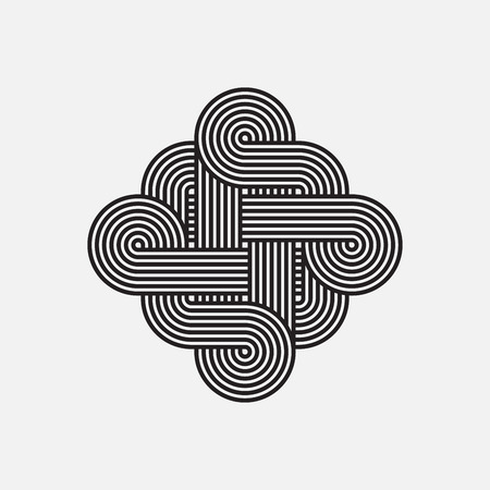intertwined: Twisted lines, vector element, intertwined pattern, isolated object, un-expanded strokes