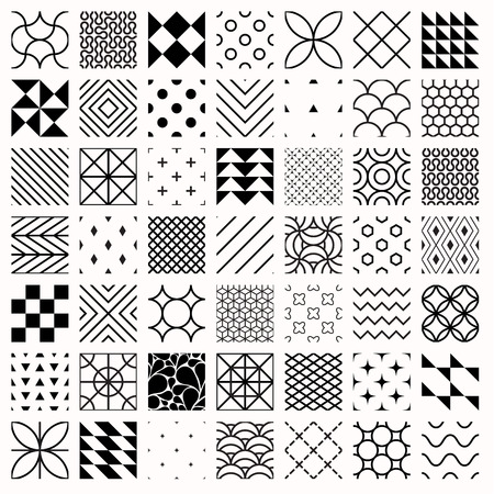 Set Of Geometric Seamless Patterns Triangles Lines Circles Cool Different Patterns