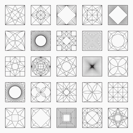 Set of geometric elements  icons, square pattern, vector illustration, un-expanded strokes