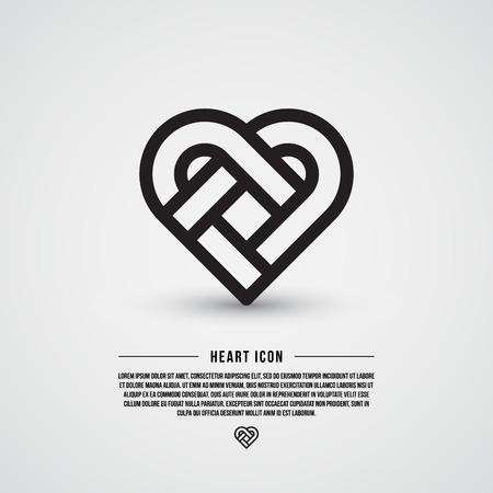 Eenvoudige hart pictogram, lijn ontwerp, vector illustratie