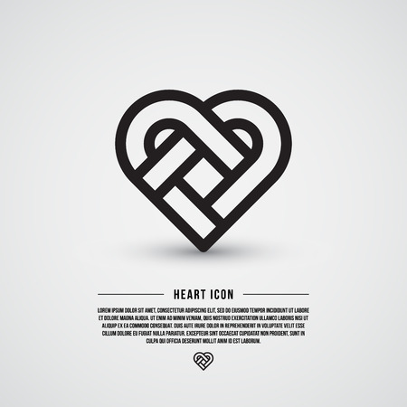 Simple heart icon, line design, vector illustration Ilustracja